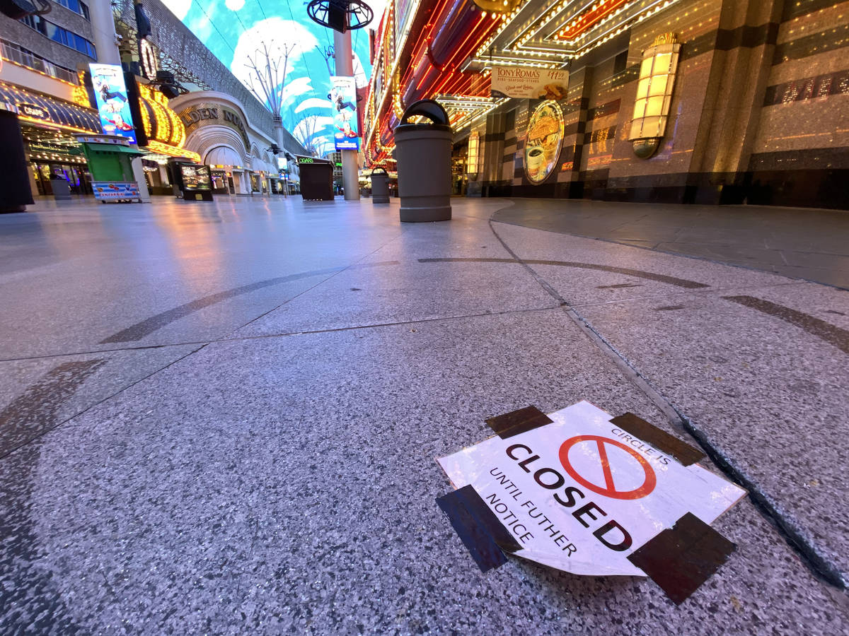 Fremont Street Experience in downtown Las Vegas Wednesday, March 18, 2020. (K.M. Cannon/Las Veg ...