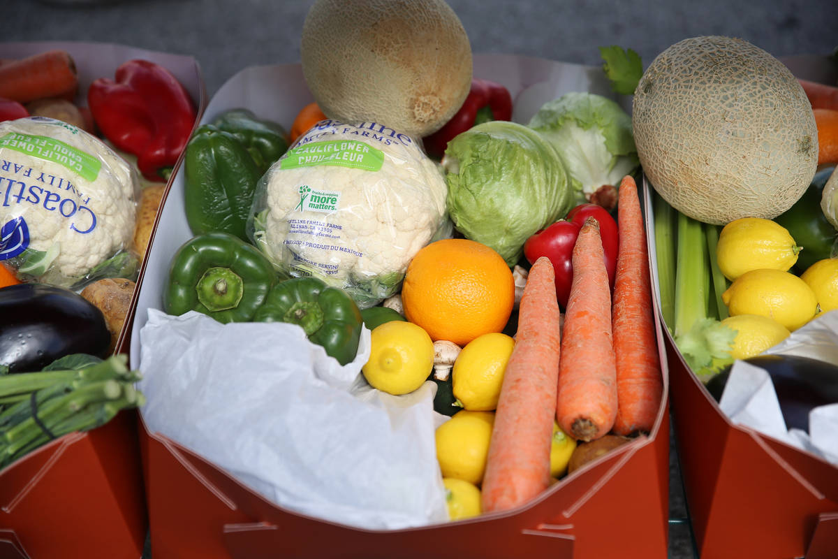 Fresh produce sits outside of the loading dock for team members at the M Resort hotel-casino in ...