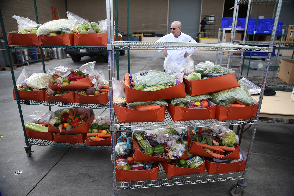 Fresh food waits to be picked up by team members at the M Resort hotel-casino in Henderson, Fri ...