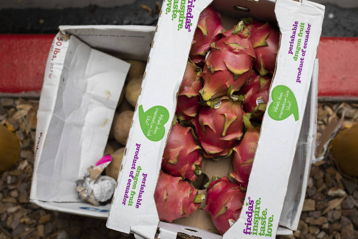 Pitayas are among the foods donated by MGM Resorts at a food donation outside the Las Vegas Met ...