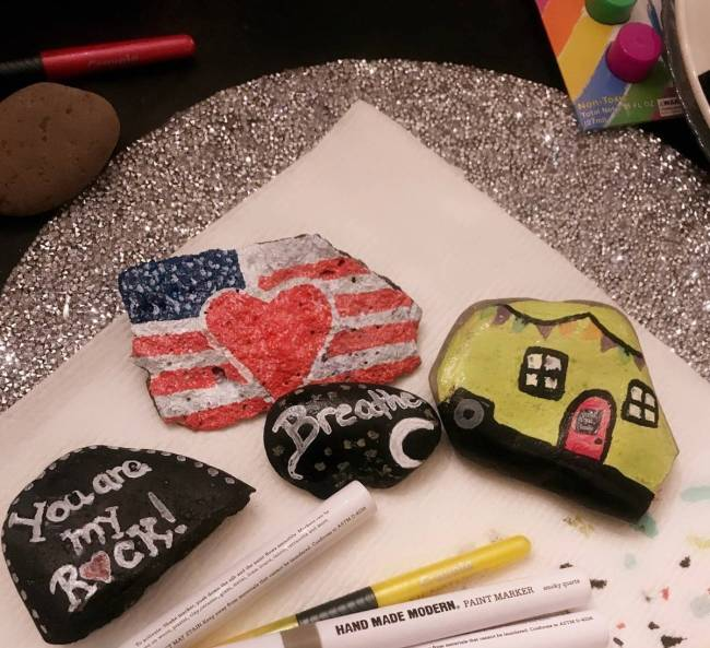 Jade Miron is leaving painted rocks on trails for neighbors and kids to find. (Jade Miron)