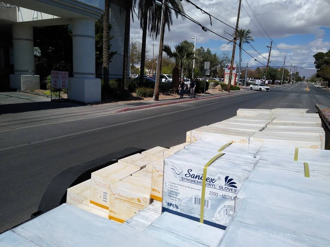 Las Vegas Councilman Brian Knudsen worked with Shetakis Foodservice to purchase cases of gloves ...