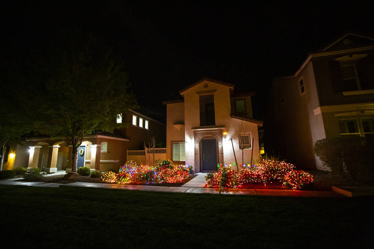 Lights at a home in the Inspirada community in Henderson on Thursday, March 26, 2020. (Chase St ...