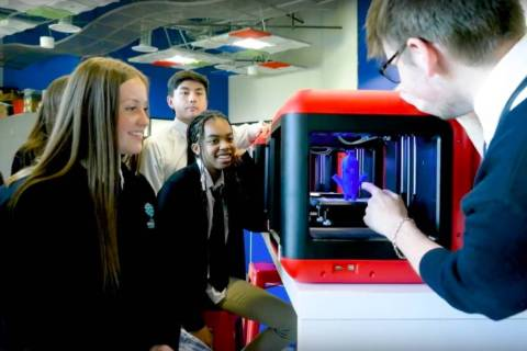 Students check out a 3D printer at the Adelson Educational Campus in Summerlin. (Adelson Educat ...