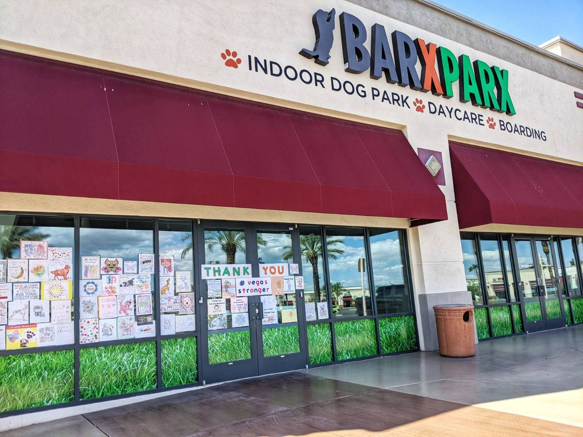"""Barx Parx indoor dog park is displaying messages to first responders and others on a """"thank you ..."""