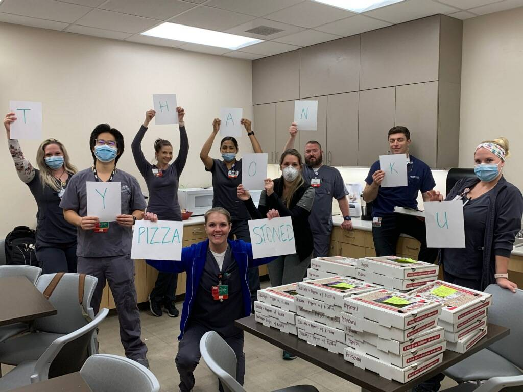 Madisen Saglibene is catering free personal pizzas to staff at Las Vegas Valley hospitals and g ...