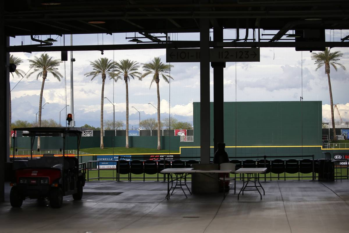 A closed Goodyear Ballpark, spring training home of the Cleveland Indians and Cincinnati Reds b ...