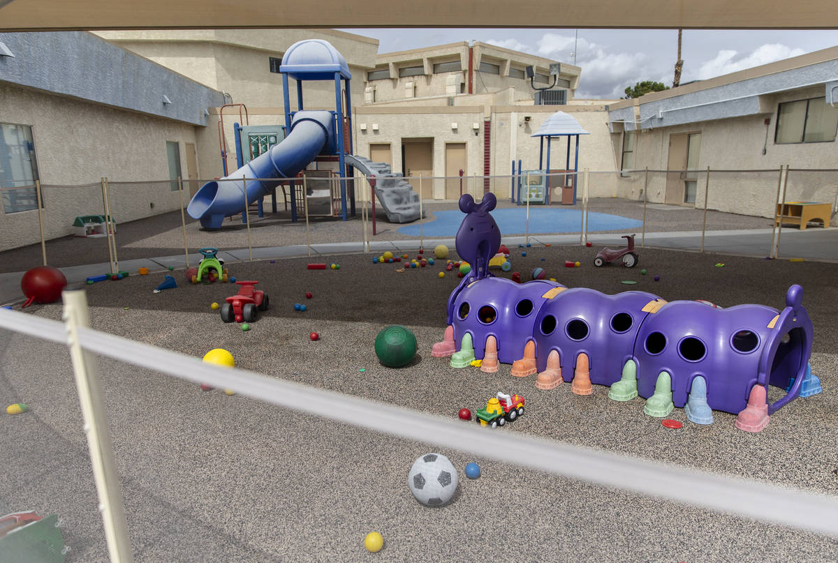 The playground at New Horizons Preschool is completely empty on Wednesday, March 18, 2020, in L ...