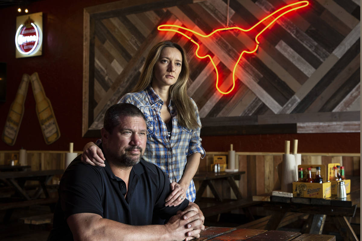 Brian Buechner, left, and wife Natalia Badzjo, owners of Big B's Texas BBQ, on Thursday, March ...