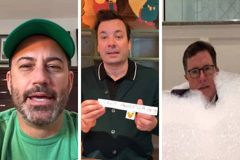 Jimmy Kimmel, from left, Jimmy Fallon and Stephen Colbert have taken to YouTube to continue the ...