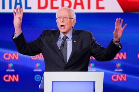 Sen. Bernie Sanders, I-Vt., participates in a Democratic presidential primary debate at CNN Stu ...