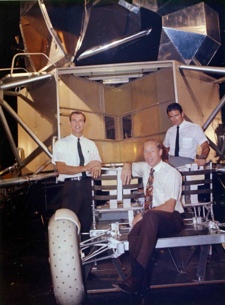 This undated photo made available by NASA shows astronauts Al Worden, center, Dave Scott, left, ...