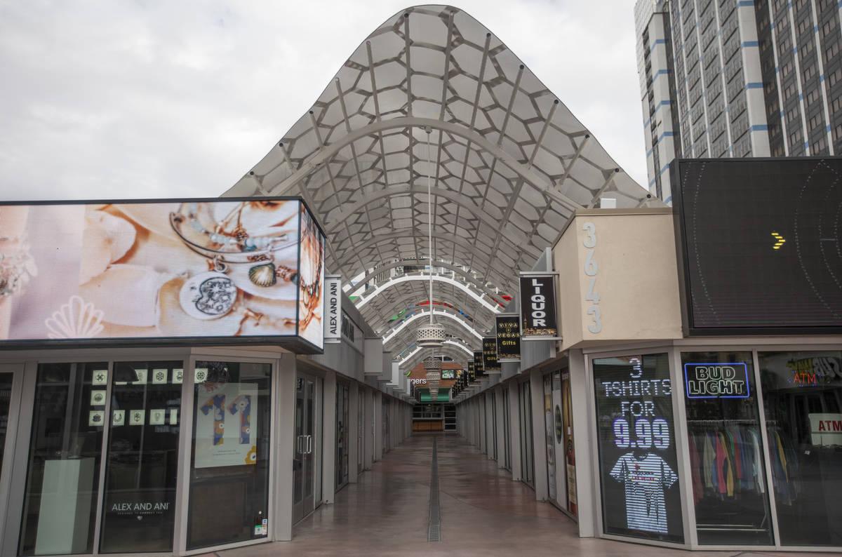 Grand Bazaar Shops is empty on Wednesday, March 18, 2020, in Las Vegas. (Ellen Schmidt/Las Vega ...