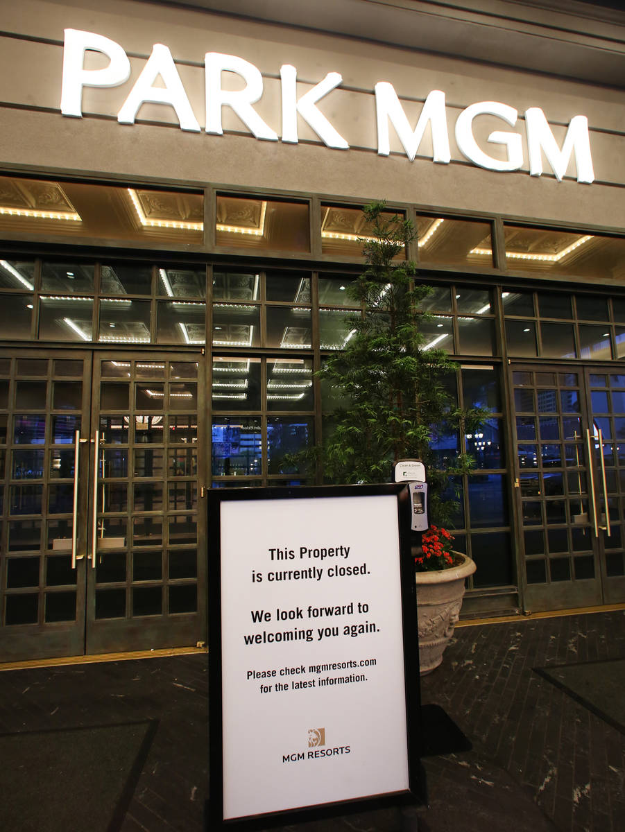 Doors to Park MGM are closed following Gov. Steve Sisolak's statewide order that non-essential ...