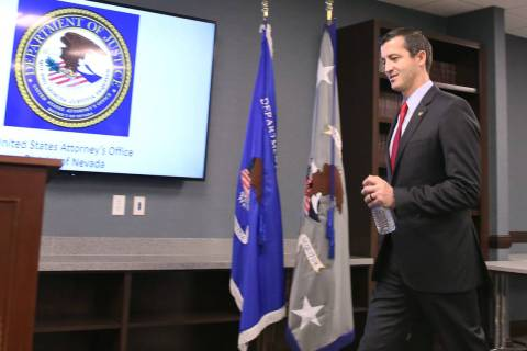 U.S. Attorney Nicholas Trutanich takes the podium to speak during a news conference on Tuesday, ...