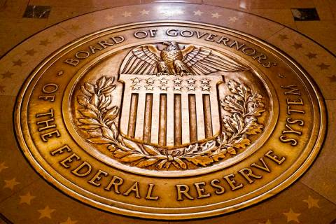 In a Feb. 5, 2018, file photo, the seal of the Board of Governors of the U.S, Federal Reserve S ...
