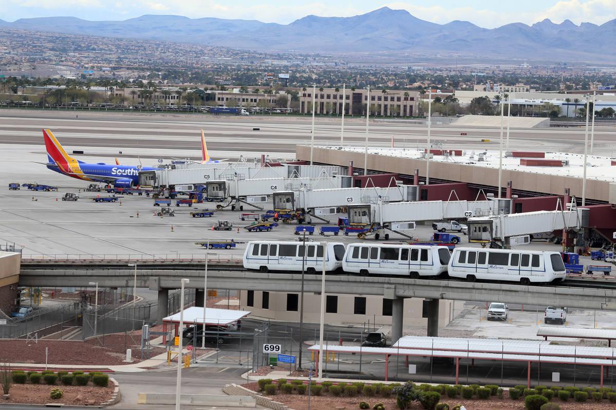 McCarran International Airport in Las Vegas, Thursday, March 19, 2020. (Erik Verduzco / Las Veg ...