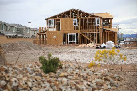 A home under construction in Las Vegas on Friday, March 13, 2020. (Erik Verduzco/Las Vegas Revi ...