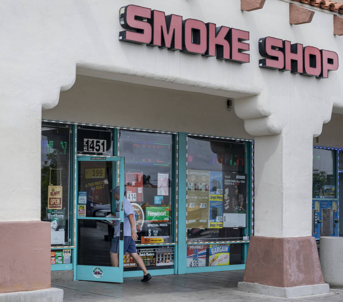 Jit 4 Cigarettes Cheap, a smoke shop, at 1451 North Jones Boulevard in Las Vegas remains open d ...