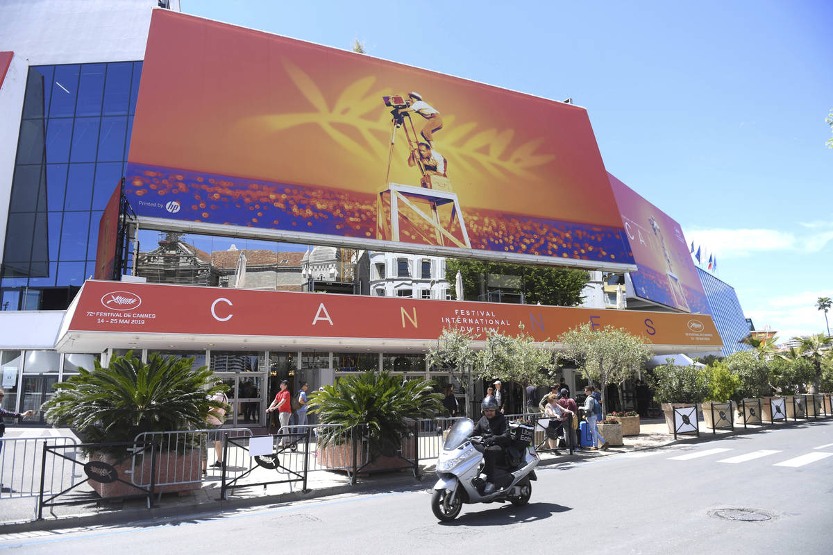 FILE - This May 13, 2019 file photo shows a view of the Palais des festivals during the 72nd in ...