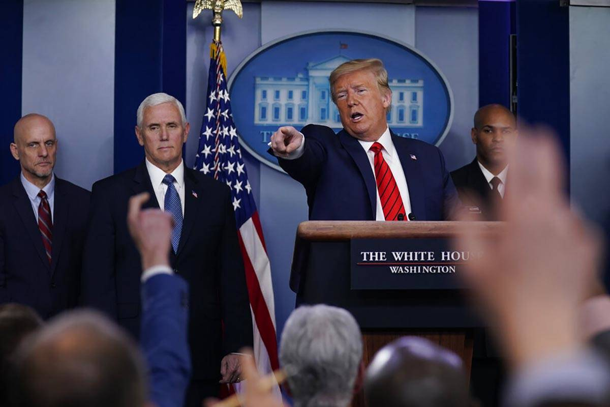 President Donald Trump takes questions during press briefing with the coronavirus task force, a ...