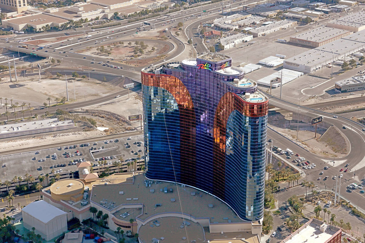 An aerial view of the Rio All-Suite Hotel and Casino from the Goodyear blimp on Tuesday, Januar ...