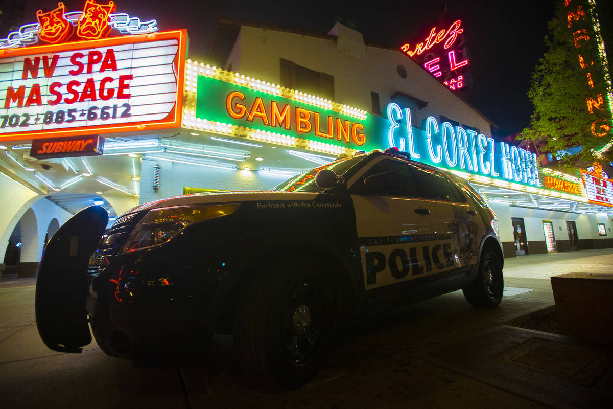 An unoccupied Metro vehicle is parked in front of the El Cortez in downtown Las Vegas on Thursd ...
