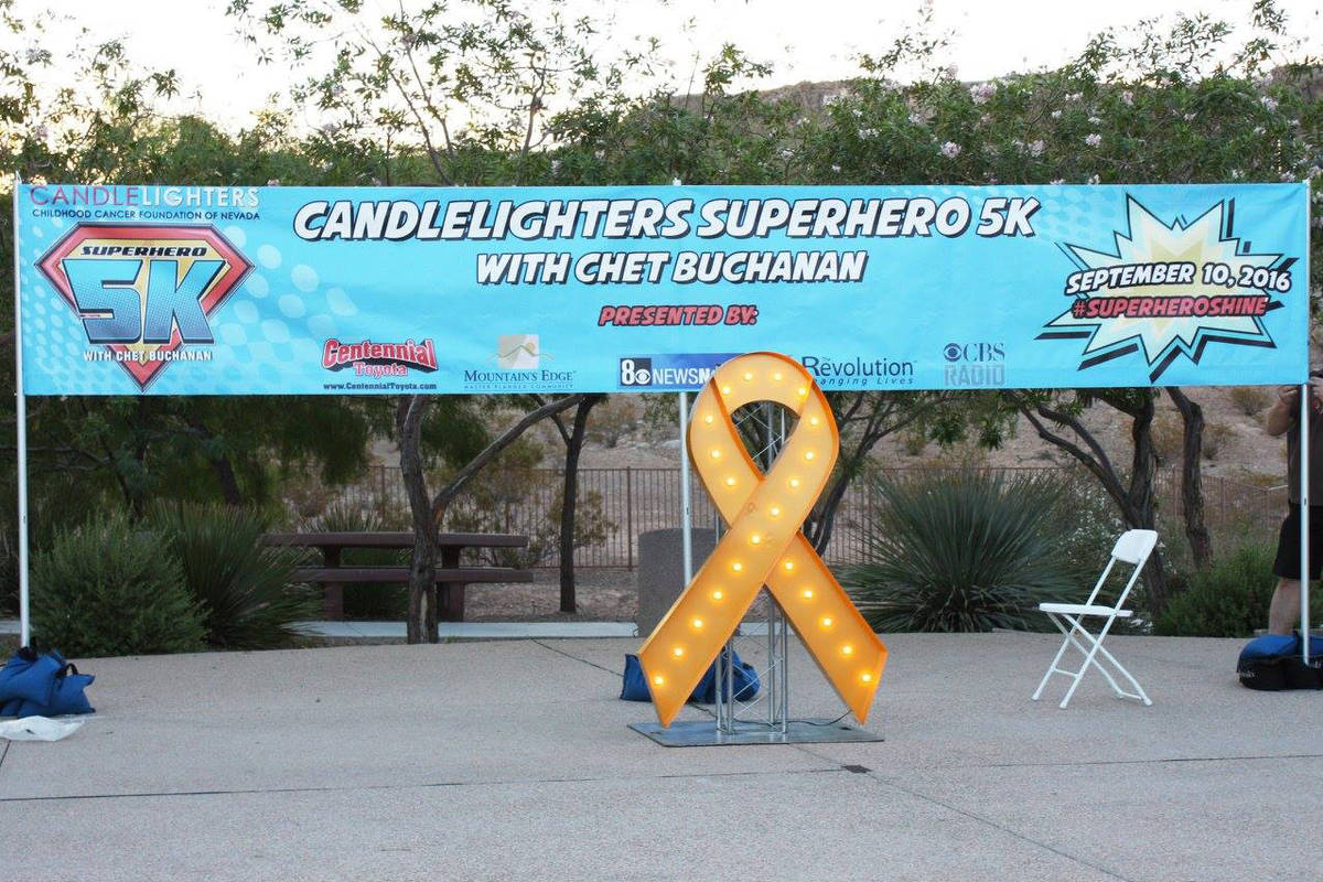 The 2016 Candlelighters Superhero 5K with Chet Buchanan took place at Mountain's Edge Explorati ...