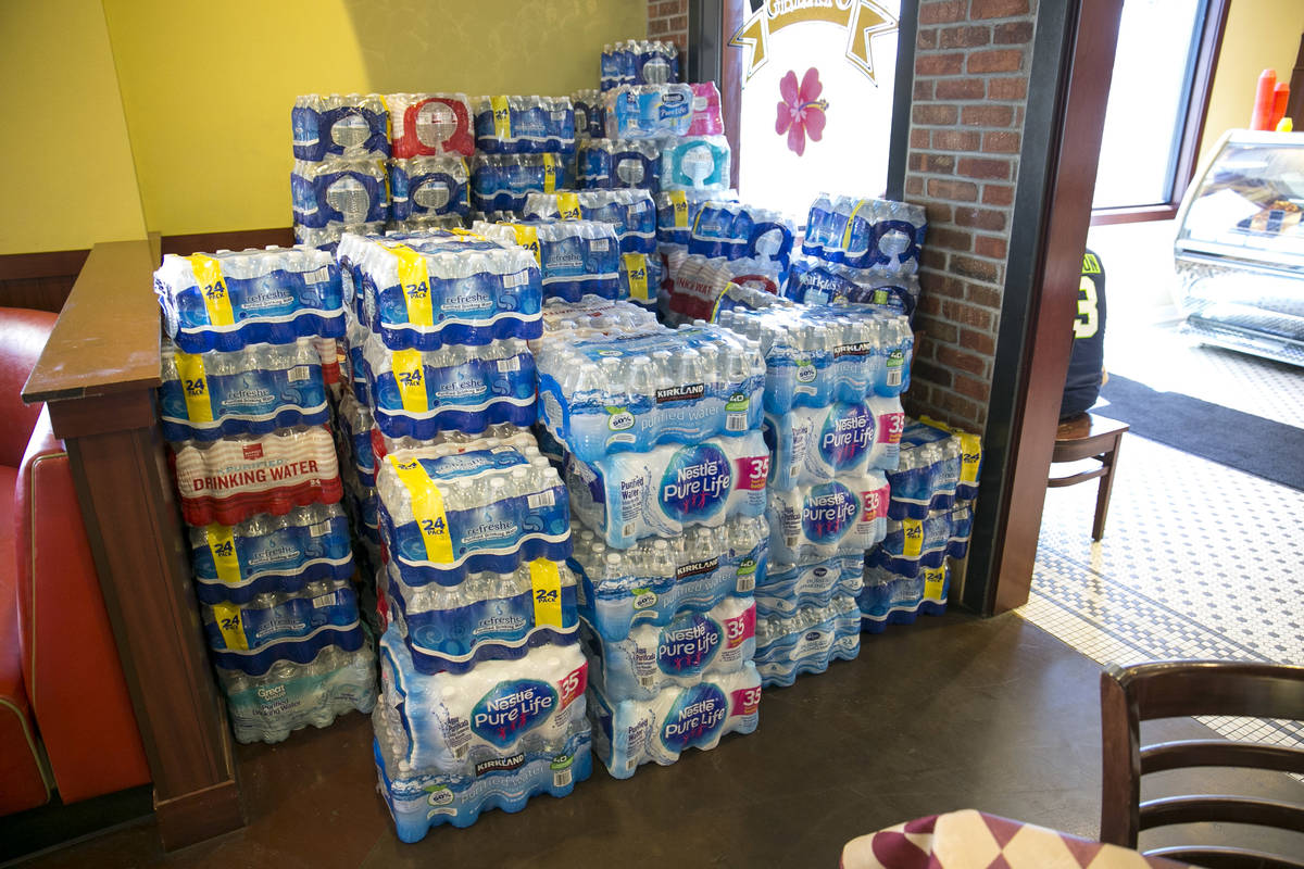 Bottled water donations are shown in this July 27, 2017, file photo. HELP of Southern Nevada wi ...