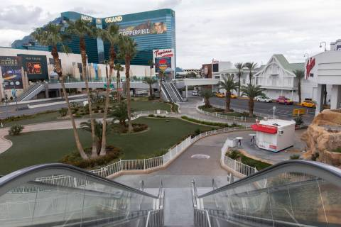 The courtyard outside of Tropicana is empty on Wednesday, March 18, 2020, in Las Vegas. (Ellen ...