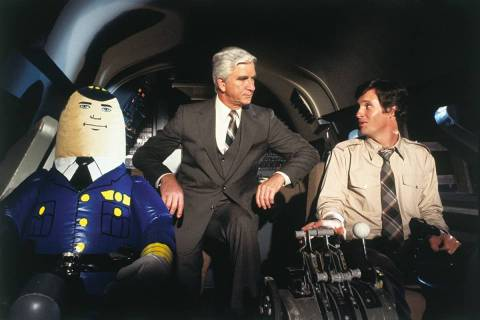 "Leslie Nielsen and Robert Hays in ""Airplane!"" (Paramount Pictures)"