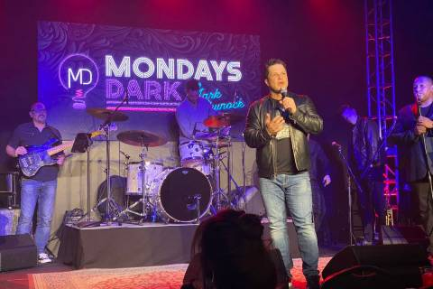 Mark Shunock plays to the cameras during Mondays Dark's live stream event on Monday, March 16, ...