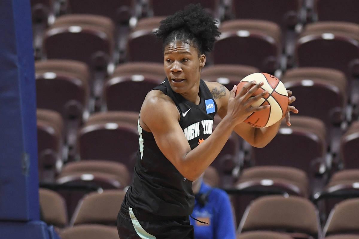 New York Liberty's Avery Warley-Talbert during the first half of a preseason WNBA basketball ga ...