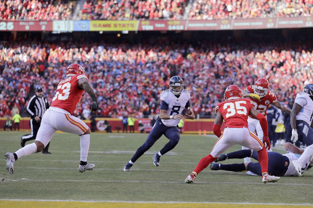 Tennessee Titans quarterback Marcus Mariota (8) during the first half of the NFL AFC Championsh ...