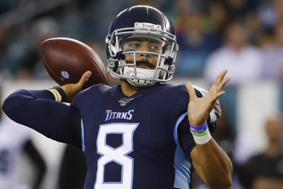 Tennessee Titans quarterback Marcus Mariota in action during a preseason NFL football game agai ...