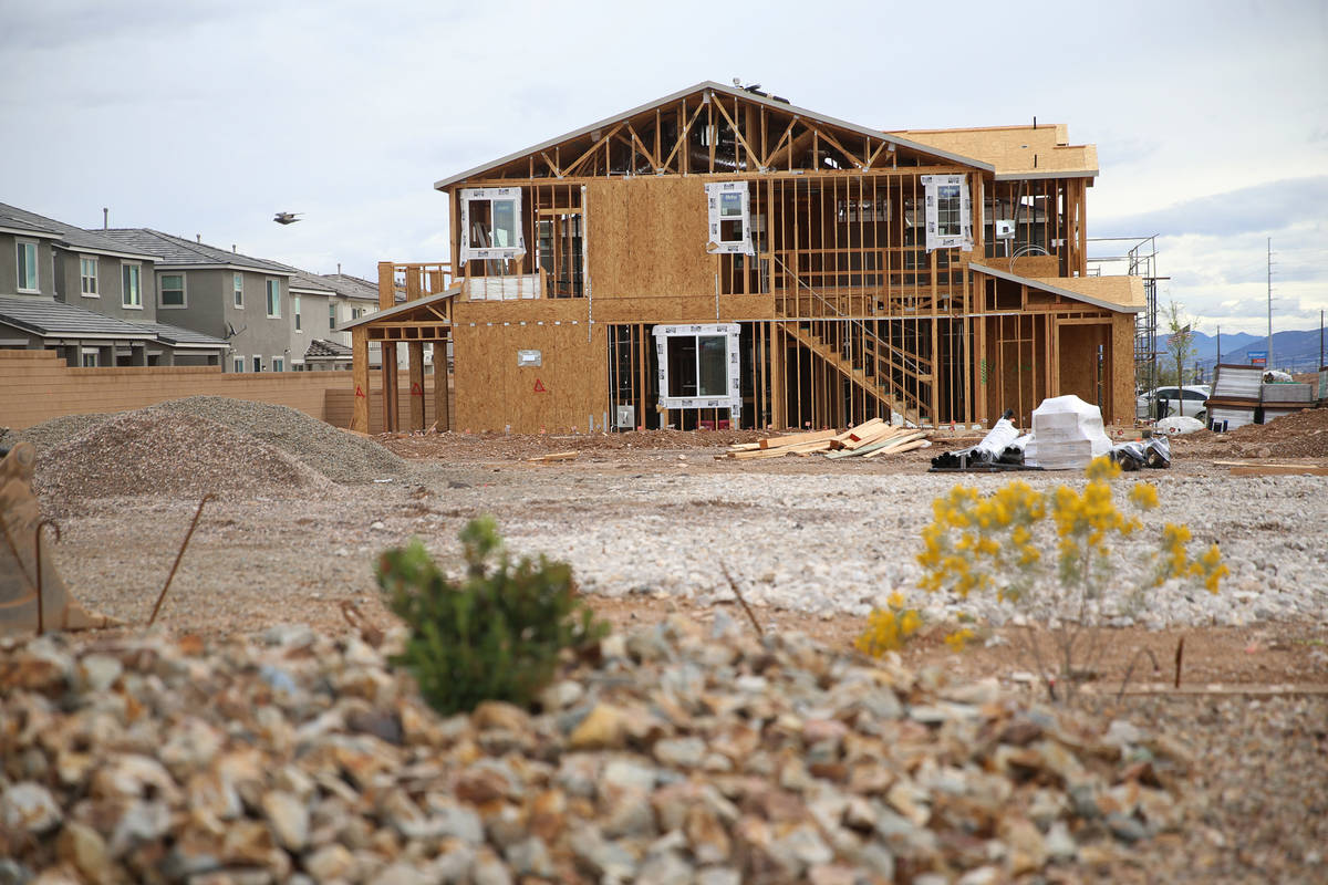 A home under construction is seen in Las Vegas on Friday, March 13, 2020. (Erik Verduzco/Las Ve ...