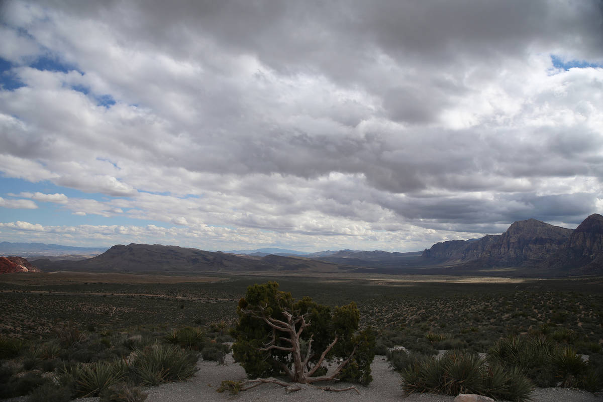 The view from Red Rock Canyon scenic loop in Las Vegas, Saturday, March 21, 2020. (Erik Verduzc ...