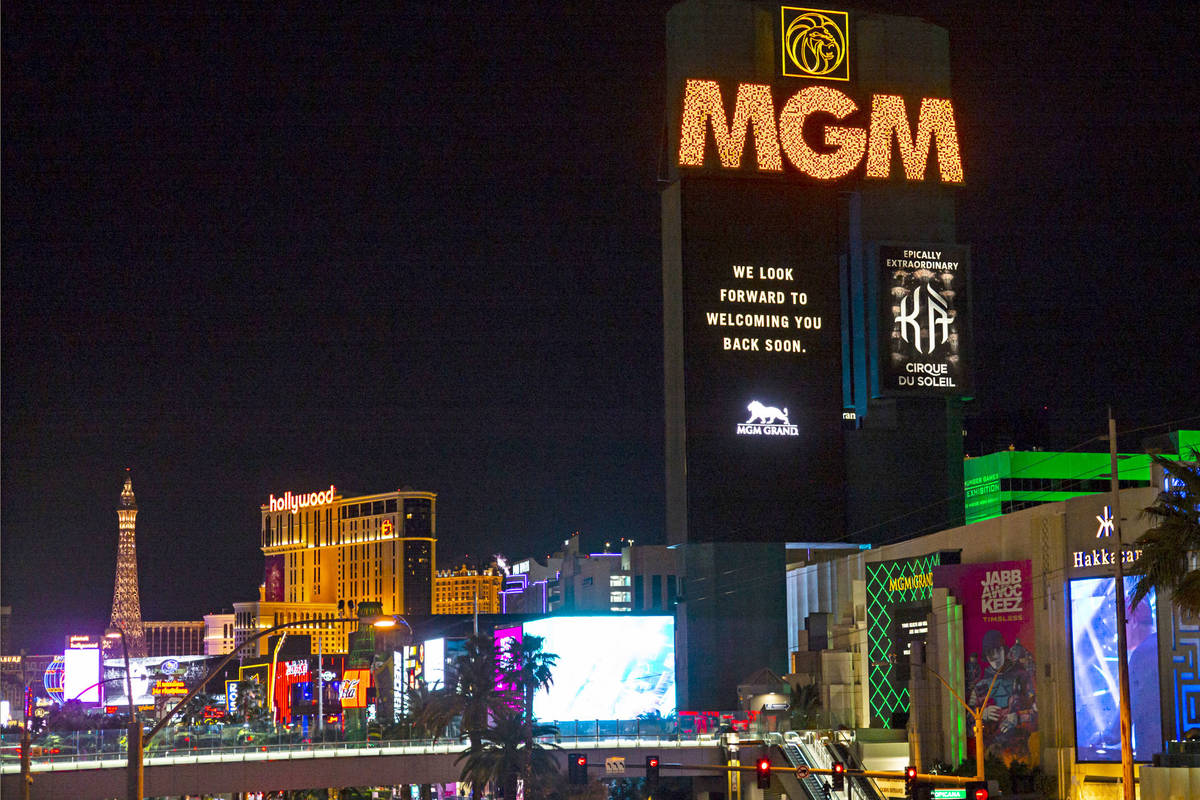 Signage indicates the temporary closure of the MGM Grand in Las Vegas on Monday, March 16, 2020 ...