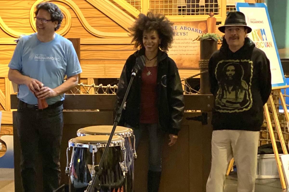 Las Vegas Philharmonic Music Director Donato Cabrera, Cindy Blackman Santana and Carlos Santana ...
