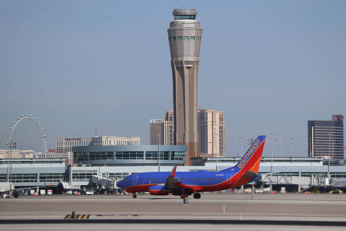 A Southwest airplane departs from McCarran International Airport in Las Vegas, Thursday, March ...