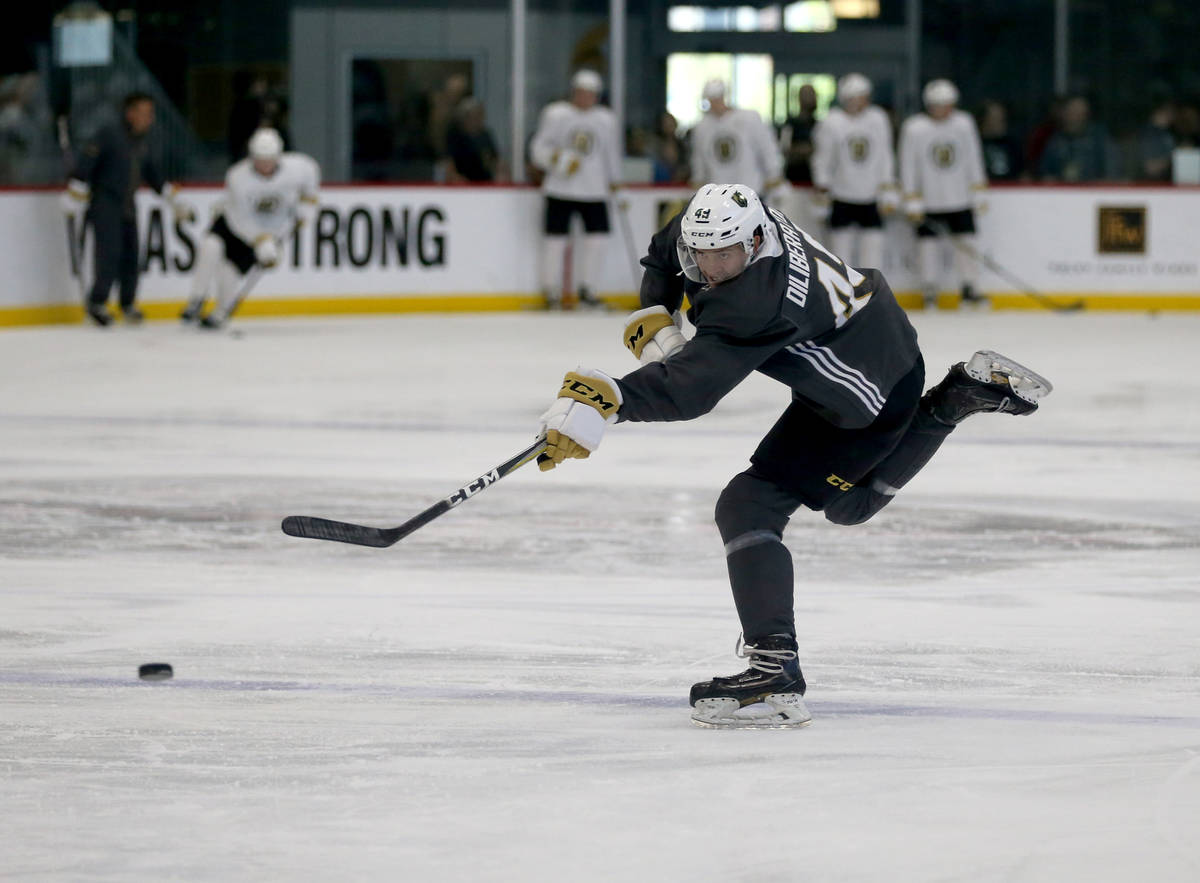 Vegas Golden Knights defender Peter Diliberatore shoots during the first day of development cam ...