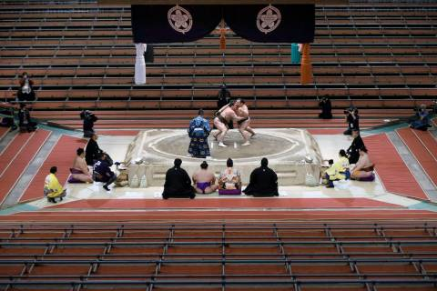 Hakuho (L) takes on fellow grand champion Kakuryu on the 15th day of the Spring Grand Sumo Tour ...