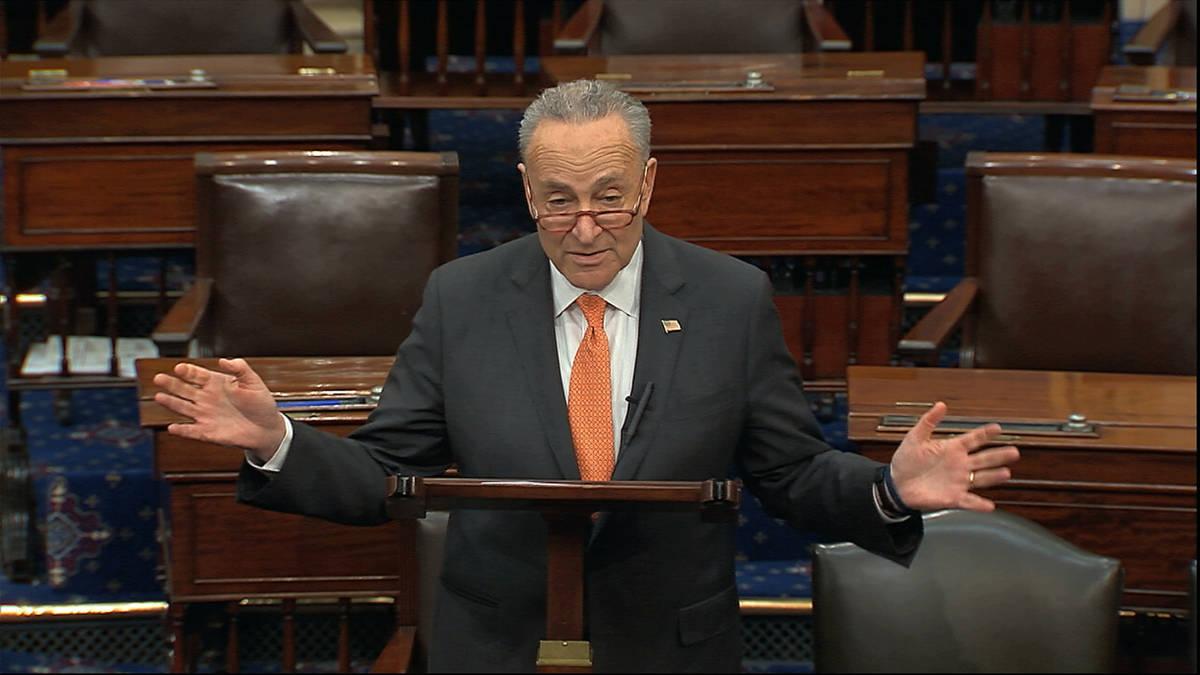 In this image from video, Senate Minority Leader Chuck Schumer, D-N.Y., speaks on the Senate fl ...