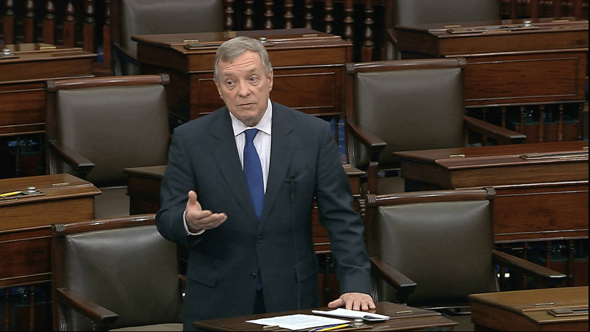 In this image from video, Sen. Dick Durbin, D-Ill., speaks on the Senate floor at the U.S. Capi ...