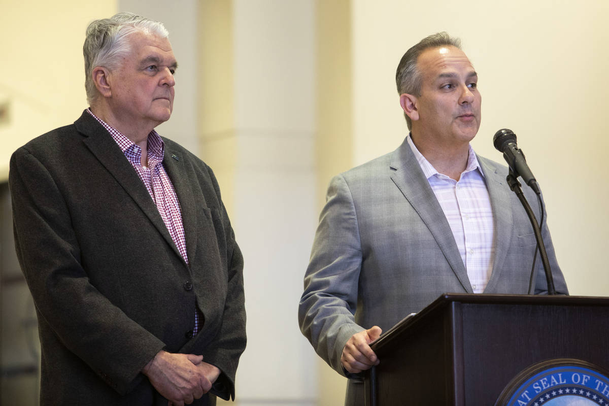Clark County School District Superintendent Jesus Jara answers questions after Gov. Steve Sisol ...