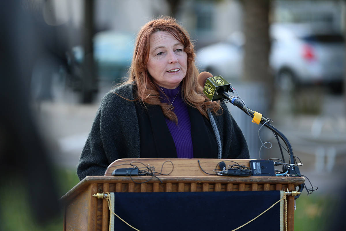 Clark County Commissioner Marilyn Kirkpatrick speaks during a press conference at Symphony Park ...