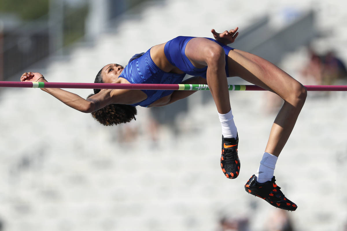 Vashti Cunningham clears the bar during the women's high jump at the U.S. Championships athleti ...