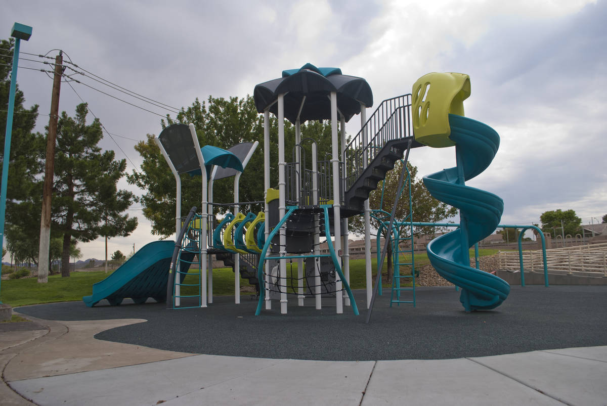 A Biba smart playground, that incorporates a Pokemon Go type app, is seen at Burkholder Park in ...
