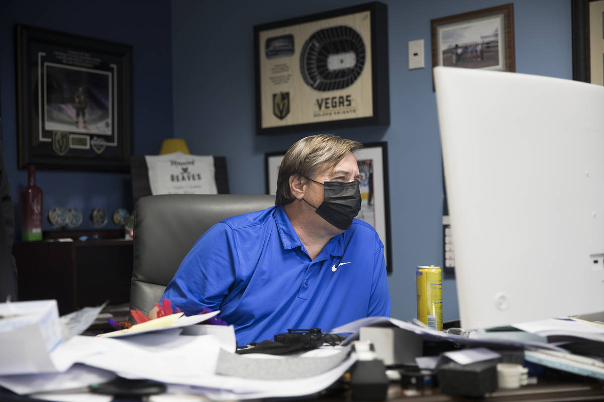 Steve Medius, president of Polar Shades, works at his office in Las Vegas, Monday, March 23, 20 ...
