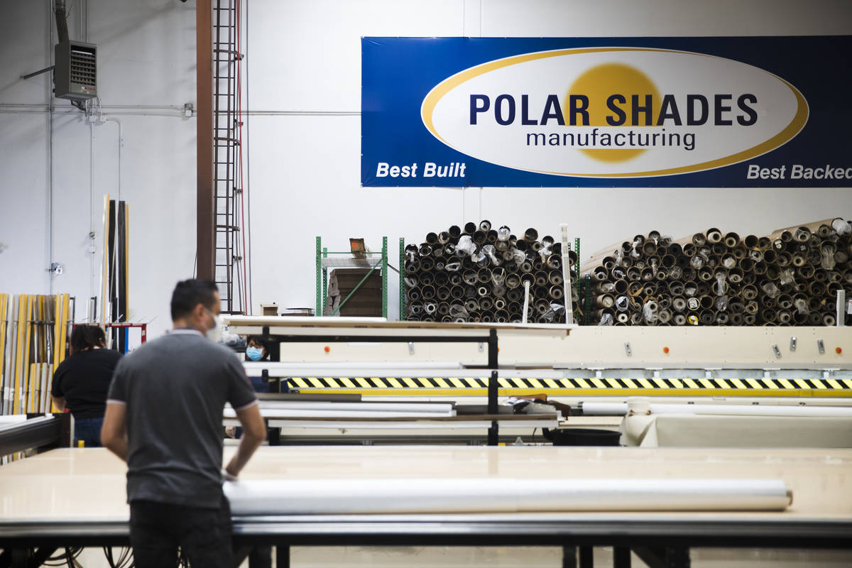 The Polar Shades factory in Las Vegas, Monday, March 23, 2020. The company is willing to conver ...